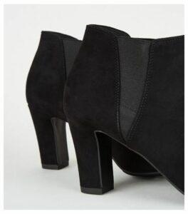 Black Suedette Block Heel Ankle Boots New Look Vegan
