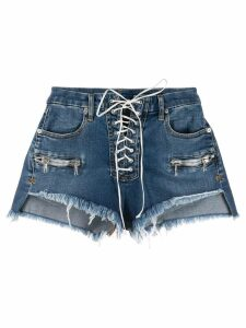 Unravel Project Vintage Chaos lace-up denim shorts - Blue