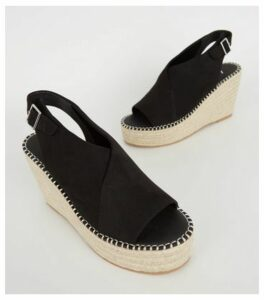 Black Suedette Espadrille Wedges New Look