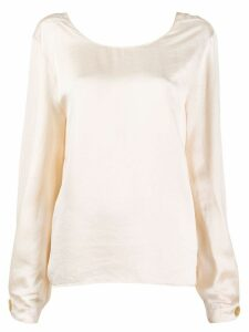 Forte Forte satin hammered blouse - NEUTRALS