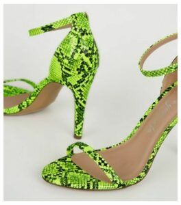 Yellow Neon Faux Snake Barely There Stilettos New Look