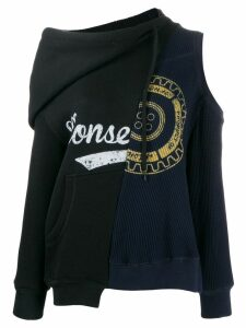Monse asymmetric logo print sweater - Black