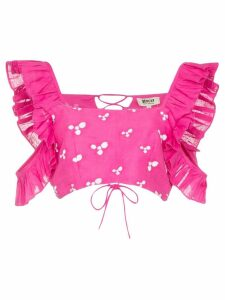 All Things Mochi Coney printed ruffle crop top - PINK