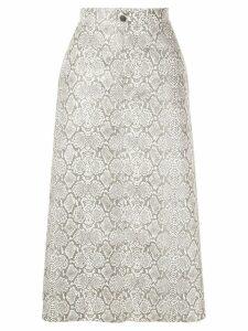 Georgia Alice snakeskin print skirt - White