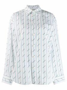Balenciaga logo print striped shirt - White