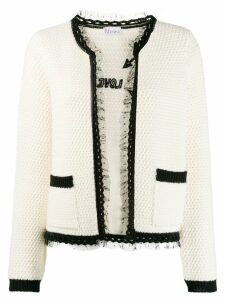 Red Valentino lace trim knitted cardigan - White
