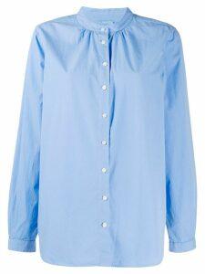 Closed band collar button shirt - Blue