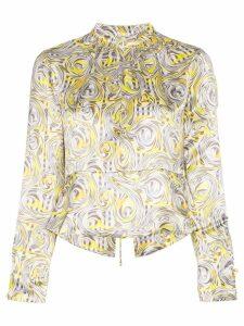 GANNI swirl print blouse - Yellow