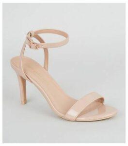 Cream Patent Mid Stiletto Sandals New Look Vegan