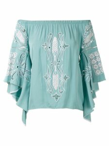 Martha Medeiros panelled off the shoulder blouse - Blue