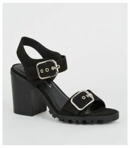 Black Buckle Strap Block Heels New Look