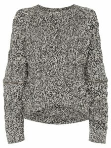 Alexander McQueen zip-sleeve chunky sweater - Black