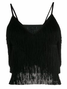 Norma Kamali fringed crop slip top - Black