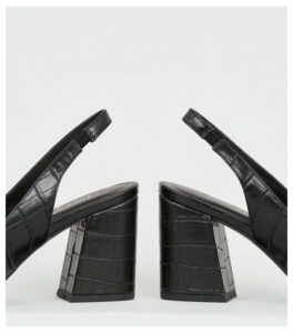 Black Faux Croc Flared Heel Slingbacks New Look