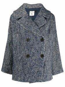 Semicouture herringbone print coat - Blue