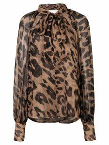 Oscar de la Renta leopard print blouse - Brown