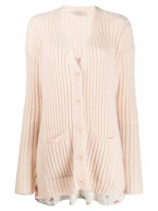 Twin-Set V-neck knit cardigan - NEUTRALS