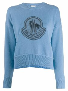 Moncler logo embroidered sweatshirt - Blue