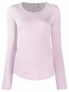 Closed striped jersey top - PINK