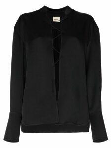 Khaite Athena lace-up top - Black