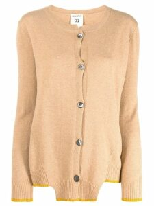 Semicouture round neck cardigan - NEUTRALS