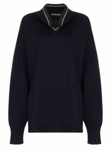 Y/Project draped neck knitted jumper - Blue