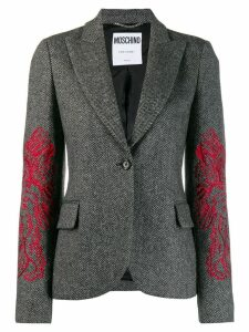 Moschino embroidered blazer - Grey