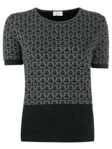 Salvatore Ferragamo Gancini intarsia knitted top - Black