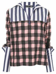Dawei check print blouse - PINK
