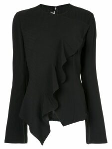 Dawei striped ruffle blouse - Black