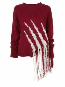 Dawei fringe knit jumper - Red
