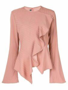 DAWEI striped ruffle blouse - Pink