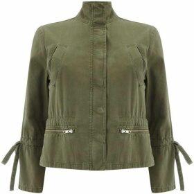 Mint Velvet Khaki Tie Sleeve Jacket