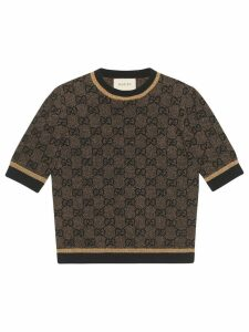 Gucci GG wool top with lurex - Brown