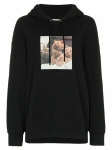 Stella McCartney oversized kitten-print hoodie - Black