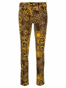 Versace Jeans Couture leopard print skinny jeans - Brown