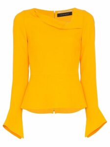 Roland Mouret Boronia asymmetric-neck top - Yellow