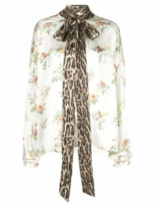 R13 floral print pussy bow shirt - White