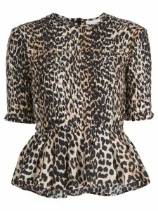 GANNI leopard print blouse - Brown