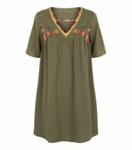 Apricot Khaki Embroidered Smock Dress New Look