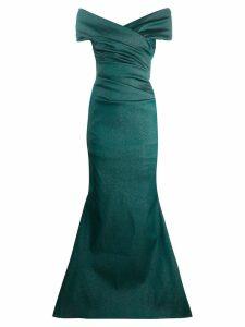 Talbot Runhof sorbet gazar long dress - Green