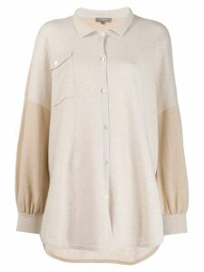 N.Peal colour blocked knit shirt - NEUTRALS