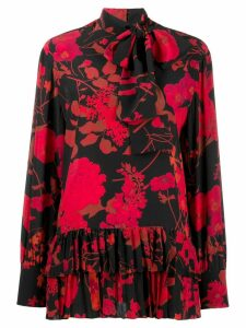 Valentino floral print pleated blouse - Black