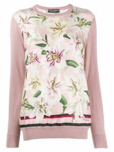 Dolce & Gabbana lily print jumper - PINK