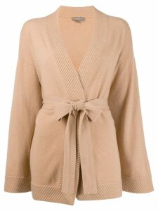 N.Peal rib edge belted cardigan - NEUTRALS