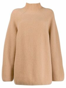 N.Peal relaxed fit ribbed jumper - NEUTRALS