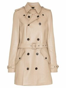 Saint Laurent double-breasted leather trench coat - NEUTRALS