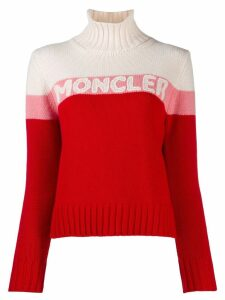 Moncler logo roll neck sweater - Red