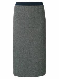 Thom Browne Vertical Stripe Wool Pencil Skirt - Grey