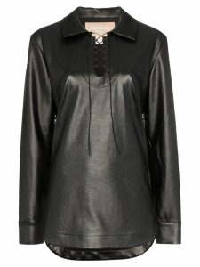 Matériel faux leather lace-up top - Black
